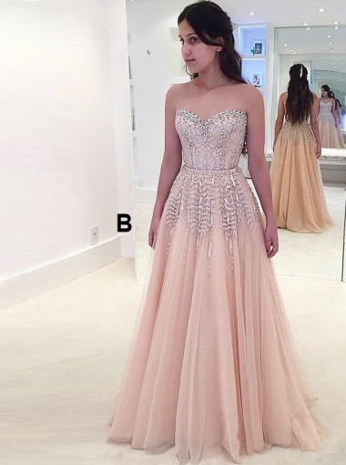 A-Line Sweetheart Pearl Pink Tulle Prom Dress with Beading