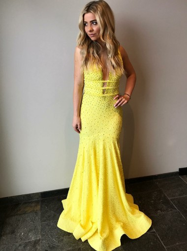 Mermaid V-Neck Sweep Train Yellow Lace Prom Dress with Beading