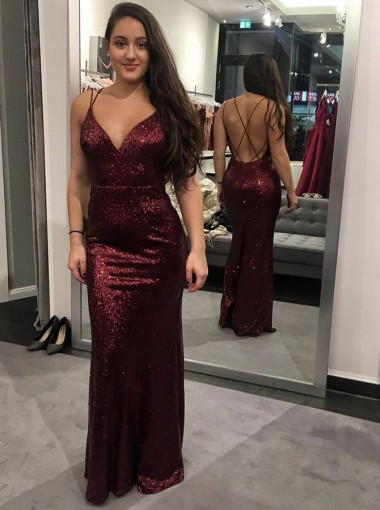 Sheath V-Neck Criss-Cross Dark Red Sequined Prom Dress