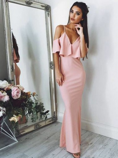 Sheath V-Neck Cold Shoulder Pink Elastic Satin Prom Dress with Ruffles