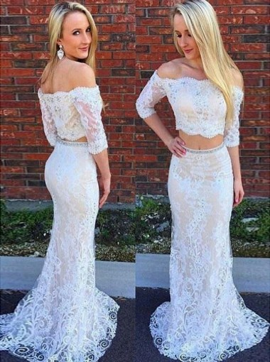 Two Piece Off-the-Shoulder 3/4 Sleeves Light Champagne Lace Prom Dress with Beading