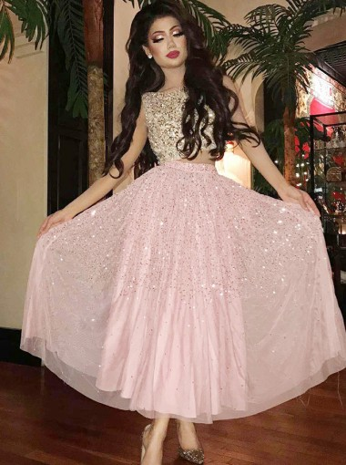 Two Piece Bateau Ankle Length Pink Chiffon Prom Dress with Beading