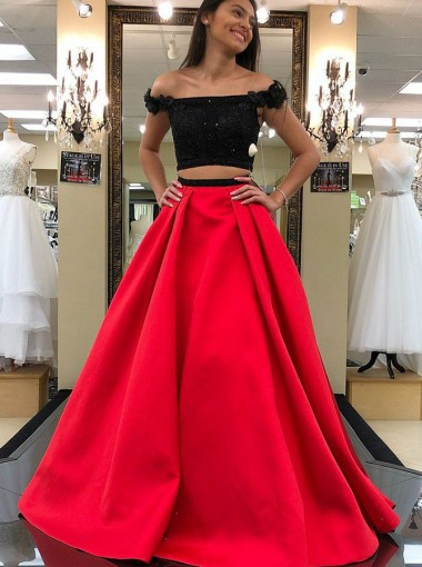 Two Piece Off-the-Shoulder Red Prom Dress with Beading Flowers