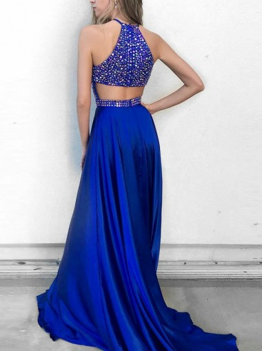 A-Line Round Neck Royal Blue Elastic Satin Prom Dress with Beading