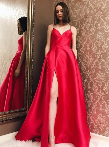 A-Line V-Neck Sweep Train Red Satin Prom Dress with Split