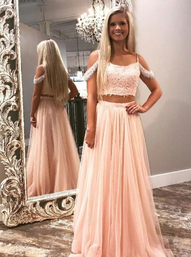Two Piece Cold Shoulder Pink Tulle Prom Dress with Beading