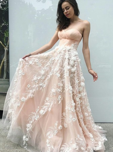 A-Line Sweetheart Pink Tulle Prom Dress with Appliques Flowers
