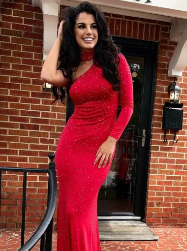 Mermaid One Shoulder Red Spandex Prom Dress with Beading