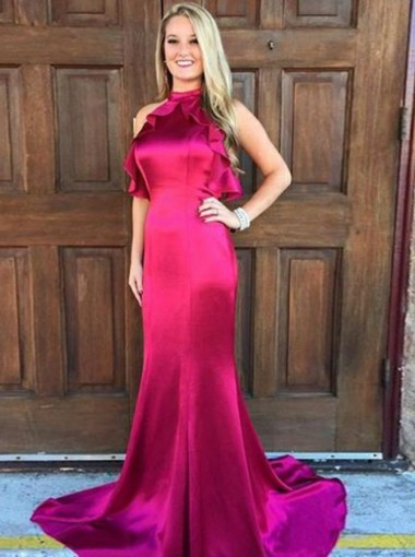 Mermaid Jewel Open Back Fuchsia Elastic Satin Prom Dress with Ruffles