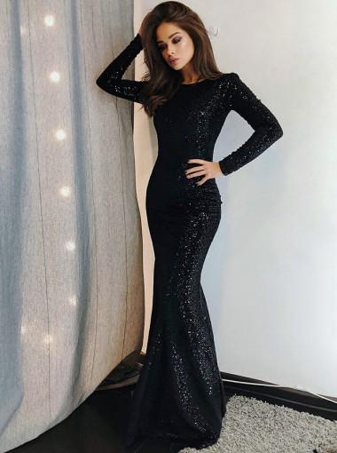 Mermaid Bateau Long Sleeves Black Sequined Evening Prom Dress