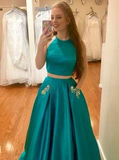 Two Piece Round Neck Turquoise Satin Prom Dress with Beading