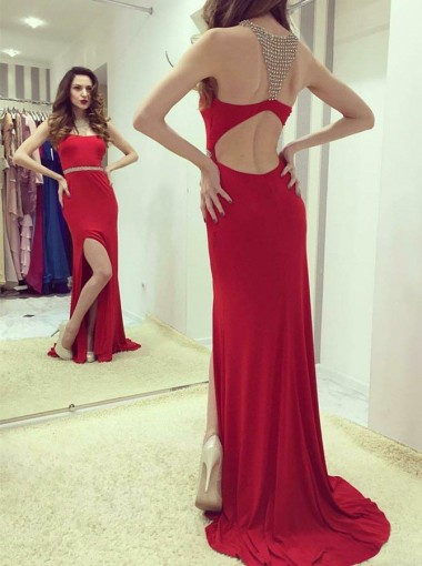 Sheath Round Neck Open Back Red Spandex Prom Dress with Beading Split