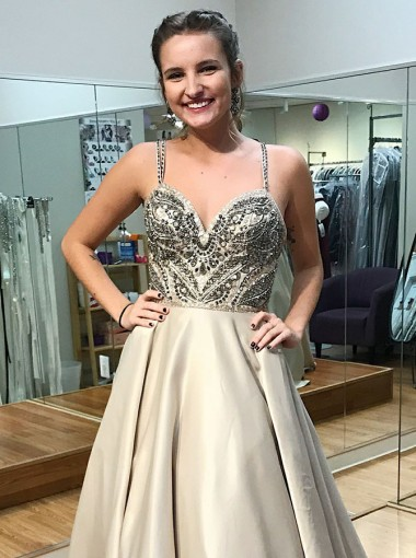 A-Line Spaghetti Straps Sweep Train Champagne Satin Prom Dress with Beading