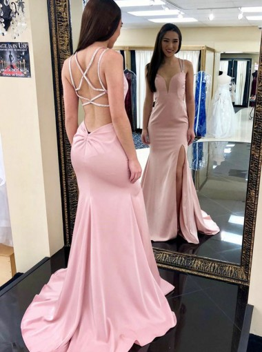 Mermaid Square Neck Pink Elastic Satin Prom Dress with Split
