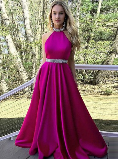 A-Line Round Neck Open Back Fuchsia Satin Prom Dress with Beading
