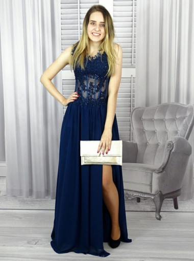 A-line Scalloped-Edge Navy Blue Chiffon Prom Dress with Appliques Beading