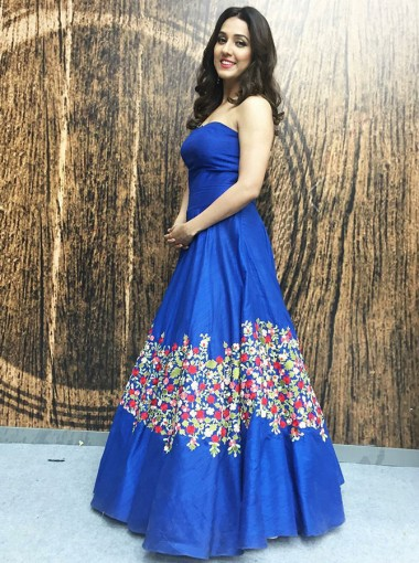 A-Line Strapless Floor Length Blue Floral Satin Prom Dress
