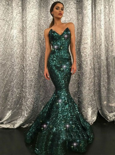 Mermaid Sweetheart Sweep Train Green Sequined Prom Dress