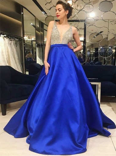 A-Line V-Neck Low Cut Royal Blue Satin Prom Dress with Beading