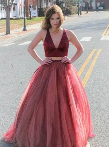 Two Piece V-Neck Open Back Red Tulle Prom Dress
