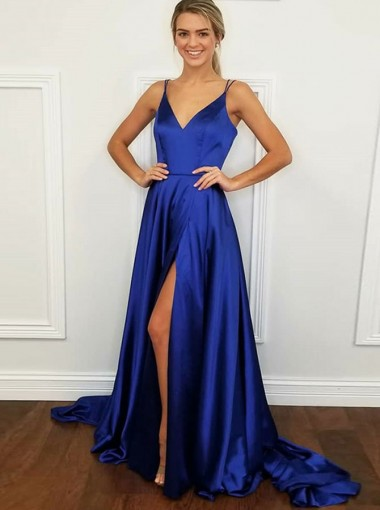 A-Line V-Neck Blue Elastic Satin Prom Dress with Split