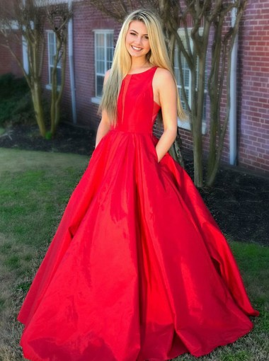 A-Line Round Neck Red Satin Prom Dress with Pockets