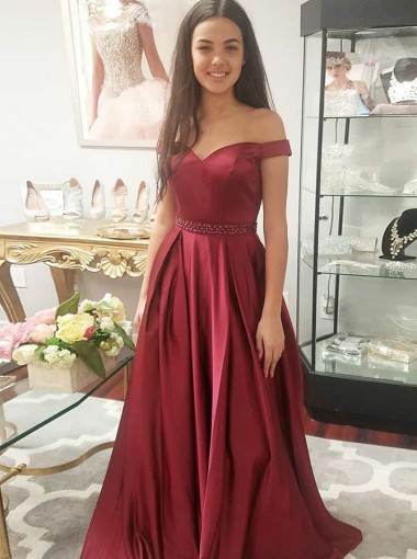 A-Line Off-the-Shoulder Red Satin Prom Dress with Pockets Beading