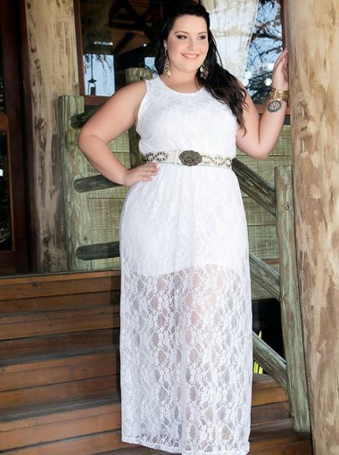 A-Line Round Neck White Lace Plus Size Prom Dress with Belt