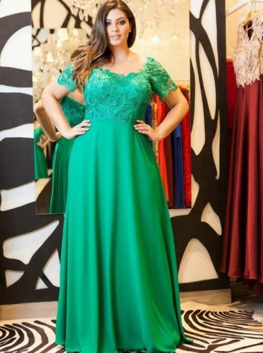 A-Line Illusion Neck Green Chiffon Plus Size Prom Dress with Lace