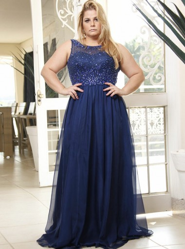 A-Line Round Neck Blue Chiffon Plus Size Prom Dress with Beading