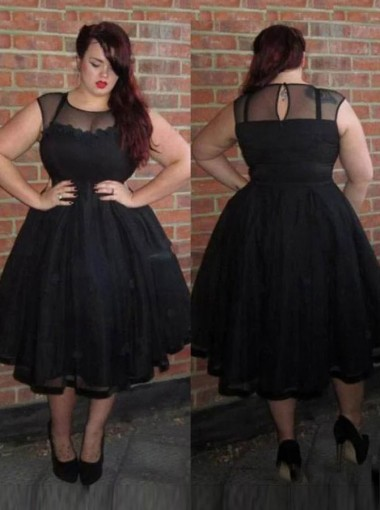 A-Line Round Neck Tea Length Black Lace Plus Size Prom Dress with Flowers