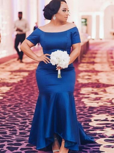 Mermaid Off-the-Shoulder Royal Blue Elastic Satin Plus Size Satin Prom Dress