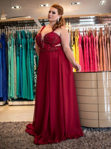 A-Line Straps Red Chiffon Plus Size Prom Dress with Beading
