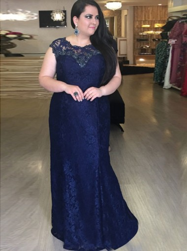 Mermaid Round Neck Dark Blue Plus Size Lace Dress with Sequins