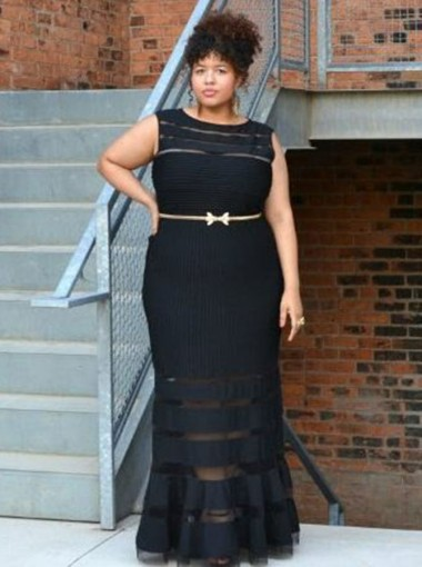 Mermaid Round Neck Black Tulle Plus Size Prom Dress with Belt