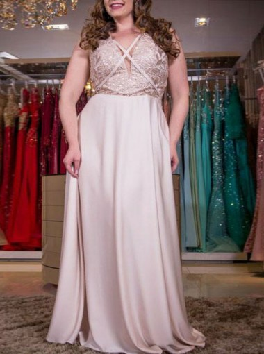 A-line V-Neck Pearl Pink Elastic Satin Plus Size Prom Dress with Lace