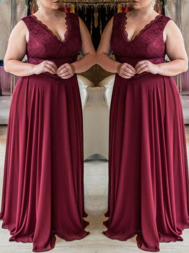 A-Line V-Neck Dark Red Chiffon Plus Size Prom Dress with Lace