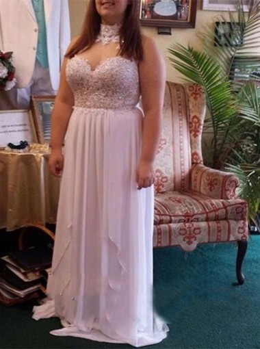 A-Line Halter Sweep Train White Chiffon Plus Size Prom Dress with Lace Beading
