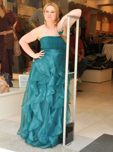 A-Line Strapless Green Organza Turquoise Plus Size Prom Dress with Ruffles