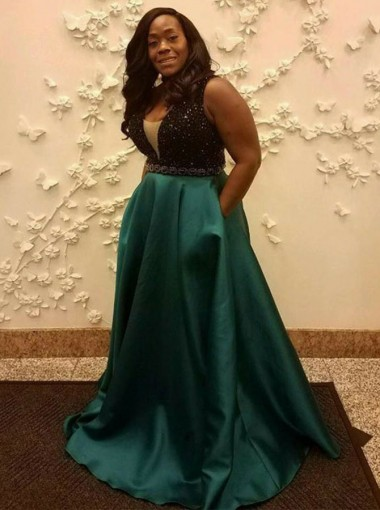 A-Line V-Neck Low Cut Green Satin Plus Size Prom Dress with Beading