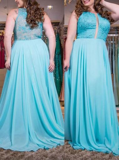 A-Line Round Neck Light Blue Chiffon Prom Dress with Lace
