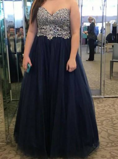 A-Line Sweetheart Navy Blue Tulle Plus Size Prom Dress with Beading
