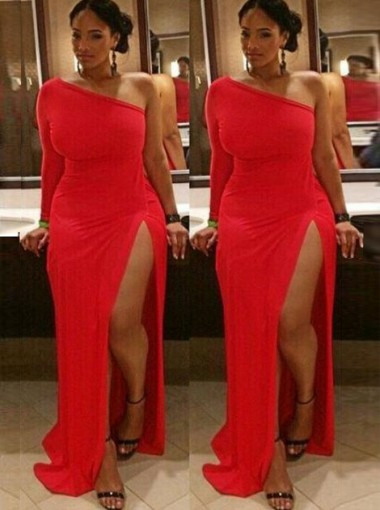 Sheath One Shoulder Red Spandex Plus Size Prom Dress with Split