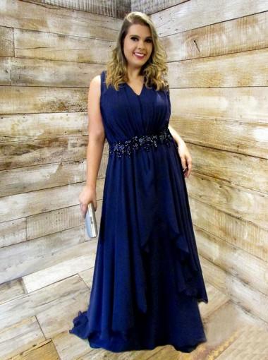A-Line V-Neck Dark Blue Chiffon Plus Size Prom Dress with Appliques Beading