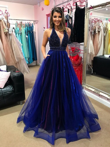 A-Line V-Neck Low Cut Blue Organza Prom Dress with Beading Pockets