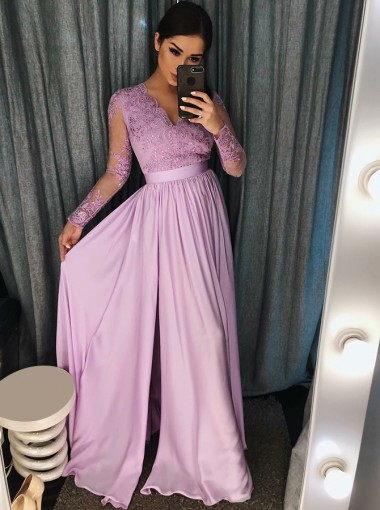 A-Line V-Neck Purple Satin Prom Dress with Appliques Beading
