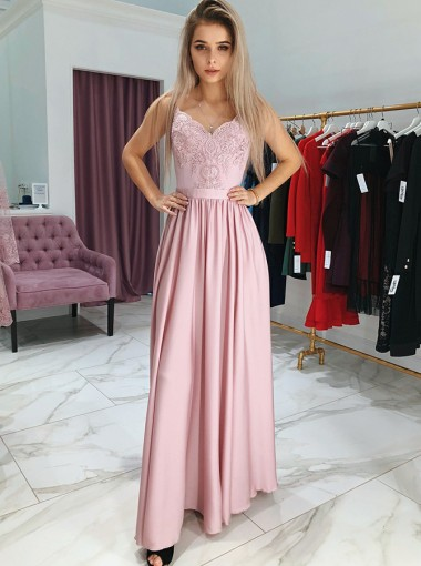 A-Line Spaghetti Straps Pink Satin Prom Dress with Lace
