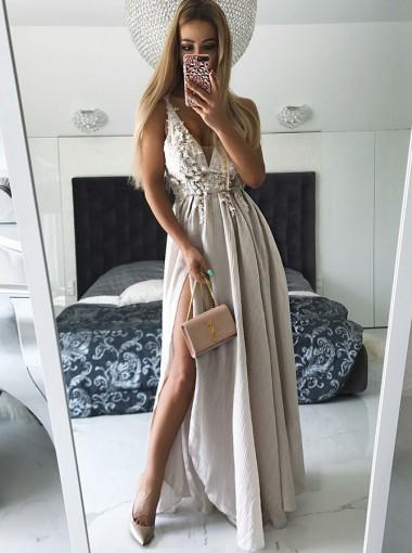 A-Line V-Neck Grey Chiffon Prom Dress with Appliques Split