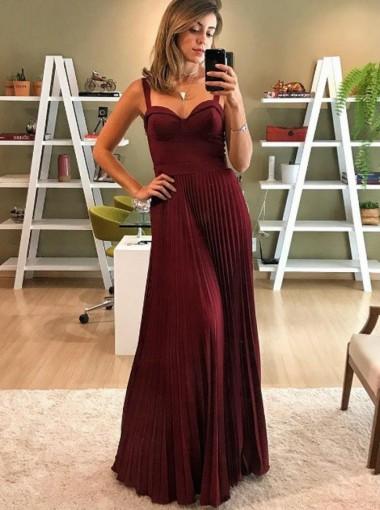A-Line Spaghetti Straps Pleated Dark Red Satin Prom Dress