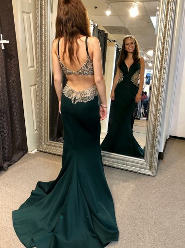 A-Line Open Back Green Satin Prom Dress with Appliques Beading